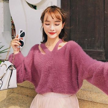 Sexy V-Neck Beige Soft Knitted Sweater Female Lantern Sleeve Oversize Pullover Women Jumpers 2018 Casual Winter Fall Sweater