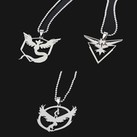 New Pokemon Go Necklace Game Anime Stainless Steel Team Valor Mystic Instinct Logo Bead Chain for Women and Men fans