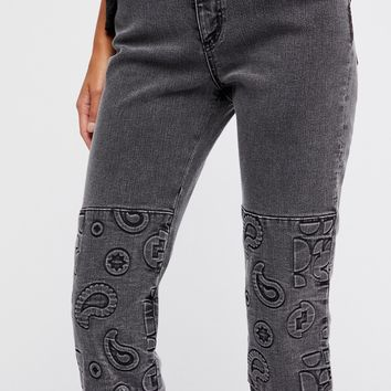 Free People Embossed Paisley Patti Straight Jeans