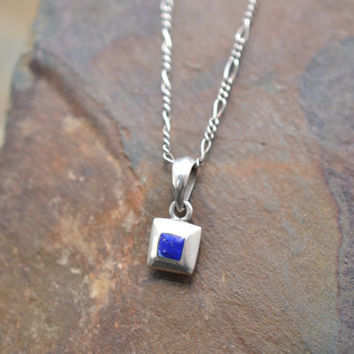 Tiny Sterling Silver and Lapis Lazuli Square Pendant on Sterling Silver Figaro Chain
