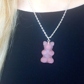 Pink Gummi Bear Necklace Pink Gummy Bear Necklace