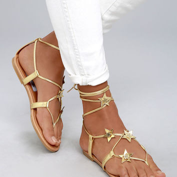 Steve Madden Jupiter Gold Lace-Up Sandals