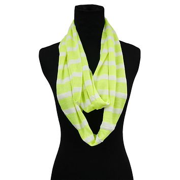 Neon Yellow Striped Infinity Scarf