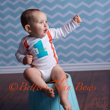 BOYS FIRST BIRTHDAY Bodysuit-Chevron Birthday Party-Aqua and Orange Birthday Set-Birthday Bodysuit with 1 and Suspenders