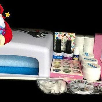 Btt 76 Professional Full Set 12 Color Uv Gel Kit Brush Nail Art Set + 36w Curing Uv Lamp Kit Dryer Curining Tools