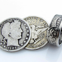 SILVER Barber Half Dollar Coin Ring, Unique Engagement Ring, Wedding Ring, Coin Jewelry, Mens, Band, Mans, Rings, Gift