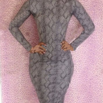 Grey Animal Print Long Sleeve Bodycon Dress