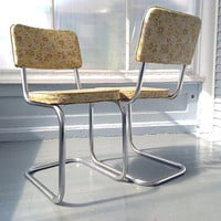 Vintage, Chairs, Dinette Chairs, Retro, 50s, Metal, Vinyl, Chrome, Kitchen Chairs, Metal Chairs, Vinyl Chairs, Yellow, RhymeswithDaughter