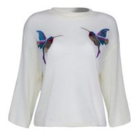 Cream Sequined Bird Detail 3/4 Sleeve Knitted Top