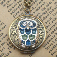 Steampunk  Blue Owl Disc Locket Necklace Vintage by sallydesign