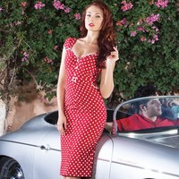 Stop Staring! Arrabella Polka Dot Wiggle Dress| Vintage Inspired High Quality - Free Shipping