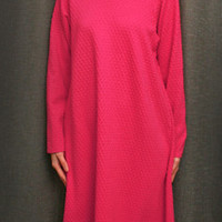 Hot Pink Long Sleeve Long NightGown Cotton Dot, Made In The USA, | Simple Pleasures, Inc.