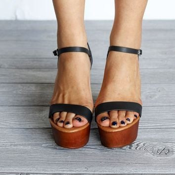 Deserve It Black Wooden Platform Wedge Heels