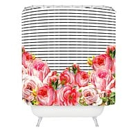 Allyson Johnson Bold Floral and stripes Shower Curtain