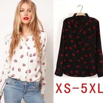Fashion 2014 Plus size blusas femininas casual shirt women blouses women work wear clothing blusa XS S M L XL XXL XXXL 4XL 5XL = 1958474244