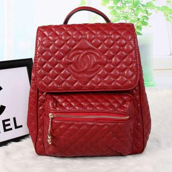 LMFNO CHANEL Women College Leather Satchel Backpack Bookbag
