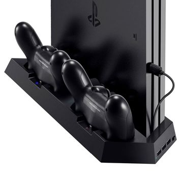 Vertical Stand Charger for PS4/ PS4 Pro/ PS4 Slim Dual Charging Station with Cooling Fan for Playstation 4 Dualshock Controller