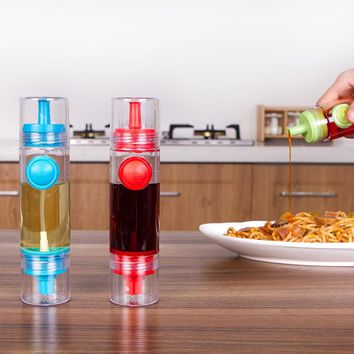 Plastic 2 in 1 Cooking Olive Oil Can Sprayer Dispenser Cruet Vinegar Spraying Bottle BBQ Kitchen Cooking Tools 2 Colors