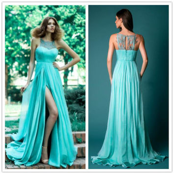 Long Dress For Women Wedding Party Cheap-clothes-china Casual Blue Lace Stitching Chiffon Split Mopping Sleeveless