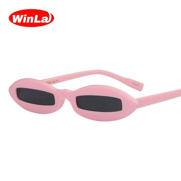 Women Small Oval Frame Sun Glasses