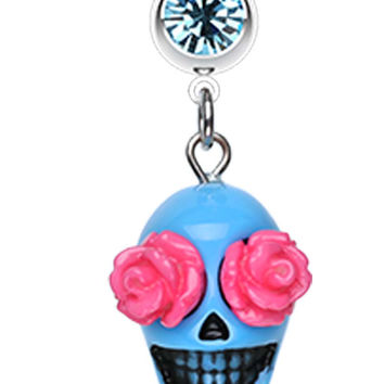 Florid Sugar Skull Dangle Belly Button Ring