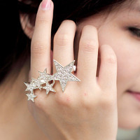 Double Hoop Star Ring - Mexy  - New fashion clothing & accessories for smaller size women like you - Mexy Shop