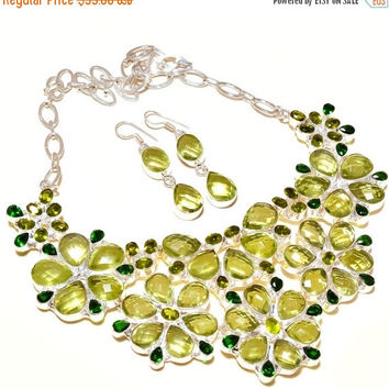 SaleHandmadeJewelry Natural Peridot Necklace , Green Gemstones Jewelry, Necklace Earring Set ,Wedding Gifts, Handmade Gifts, Jewelry Sets Gi