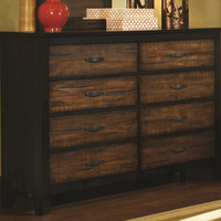 Princeton 8 Drawer Dresser BROWN/BLACK