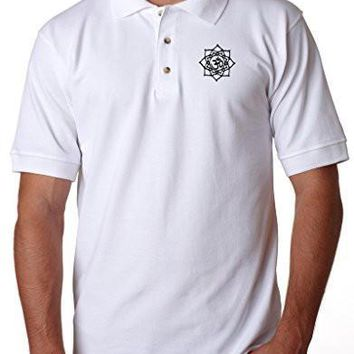 Yoga Clothing for You Mens Black Lotus Om Polo Shirt, (pocket print)