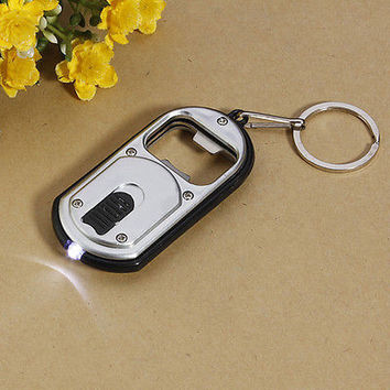 3 in 1 Bar Beer Bottle Opener LED Light Lamp Camping Key Chain Keychain USHU