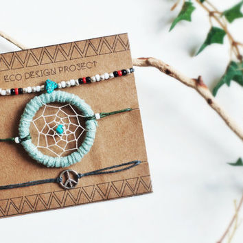 FREE SHIPPING US, A set of western style beads bracelet-4 color option, dreamcatcher-20 color option, and peace sign charm bracelets