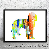 Goldendoodle 2 Watercolor Print, Archival Fine Art Print, Children's Wall Art, Home Decor, dog watercolor, watercolor painting, dog art,