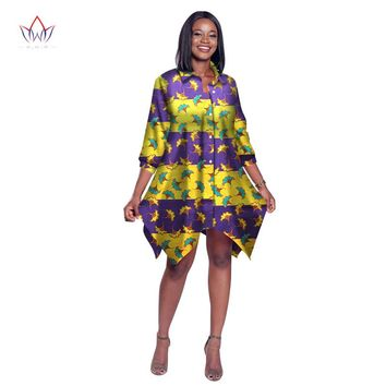 BRW 2017 African Print Wax Shirt for Women Dashiki Long Top Africa Clothing Bazin Plus Size Traditional African Clothing WY2030