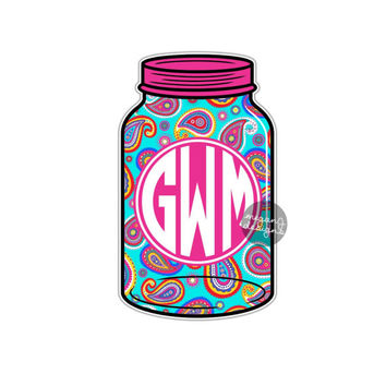 Custom Monogram Mason Jar Sticker - Colorful Paisley Design Cute Southern Car Decal Personalized Initial Laptop Decal Vinyl Bumper Sticker