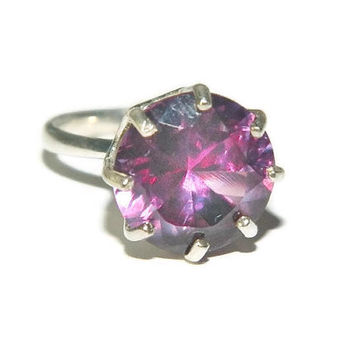 5 Carat Alexandrite Ring, Color Changing Stone, Size 7, Sterling Silver