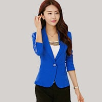 Female blazer outerwear 2016 spring and autumn women suit slim design women blazer blue suit fashion jacket coat girls clothing