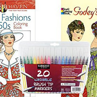 Sargent Art Washable Firm Brush Tip Markers in a Case, Set of 20 and 2 Dover Fashion Adult Coloring Books, Fashions of the 1950's and Godey's Fashions: Stress Relieving Designs to Relax and Enjoy!