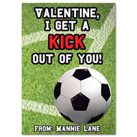 Soccer Valentines - Soccer Valentine Day Cards - Boy Classroom Valentines - Kick Out Of You - Sports Valentine - Football Valentines Card