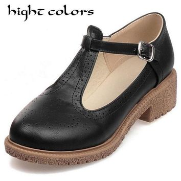 2018 Fashion Vintage Carved Flat Heel Round Toe Flat-Bottomed Shoes Woman  T Strap Preppy Style Sweet Oxford Women's Shoes