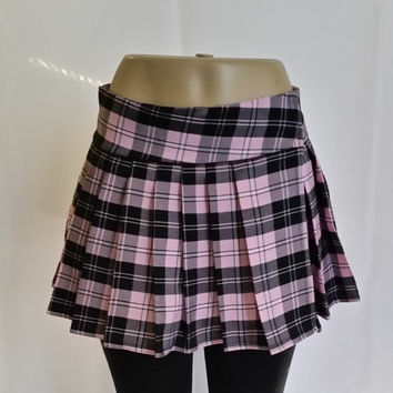 Pink Regular Junior, Tartan, Stewart, School Girl Plaid Skirt (OPENS / CLOSES with VELCRO Strip)