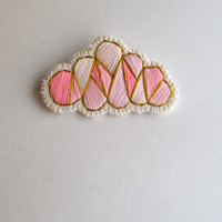 Pink cloud geometric brooch hand embroidered with a gold lining