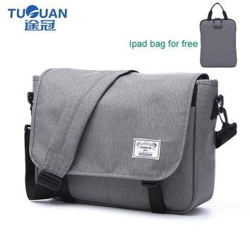 "TUGUAN Brand Designer Unisex Men Waterproof Messenger Bags Korean Style Girl Cross Body Women Shoulder Bags for 14"" Slim Laptop"