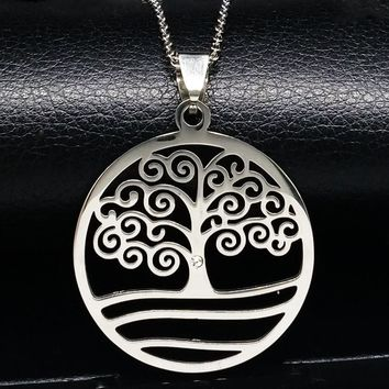 Stainless Steel Pendants Necklaces Silver Color Tree of Life Statement Necklace Women And Men Jewelry acero inoxidable N16811