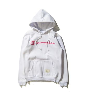 Tide brand Champion men and women couples long-sleeved hooded T-shirt plus cashmere sweater White