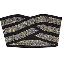 River Island Womens Black embellished bandage bandeau crop top