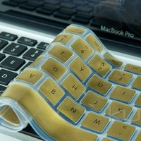 """Kuzy - METALLIC GOLD Keyboard Cover Silicone Skin for MacBook Pro 13"""" 15"""" (with or w/out Retina Display) iMac and MacBook Air 13-inch - Gold"""