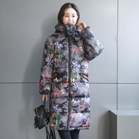 winter jacket women 2017 thick long sleeve mid-long camouflage parkas for women winter fashion Irregular coat