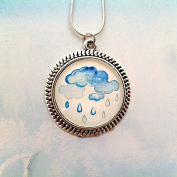 Raindrop Necklace, Hand Painted Pendant, Minimalist Necklace, Rainy Day Jewelry, Silver Rain Cloud Necklace, April Showers, Gifts for Her