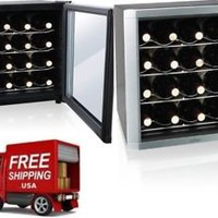 16-bottle Wine Cooler Thermoelectric Glass Door Thermostat Adjustable
