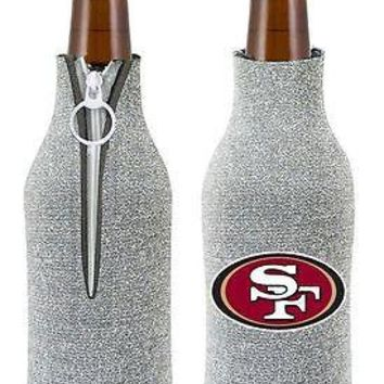 NFL San Francisco SF 49ers Glitter Zip Up Bottle Coozie Koozie Insulator Holder